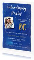 Uitnodigingen - Uitnodiging waterverf donker blauw goud
