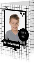 Kinderfeestjes - Uitnodiging Zwart Wit Grid