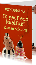 Kinderfeestjes - Uitnodigingskaart met Boef Bom