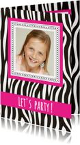 Kinderfeestjes - Uitnodigingskaartje zebra
