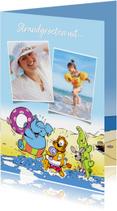 Vakantiekaarten - Vakantie Loeki & friends op het strand