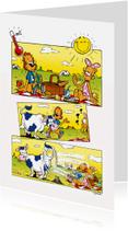 Vakantiekaarten - Vakantie strip Loeki hittegolf koe