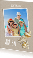 Vakantiekaarten - Vakantiekaart strandzand schelpen staand - SG