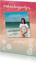 Vakantiekaarten - Vakantiekaart trendy met foto en zomerse tekeningen