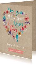 Valentijnskaarten - Valentijnskaart hartje bloemen