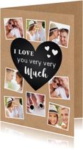 Valentijnskaarten - Valentijnskaart kraft fotocollage