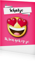 Valentijnskaarten - Valentijnskaart met smiley en hartjes als ogen