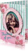 Valentijnskaarten - Valentijnskaart romantisch meisje rozen vintage