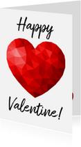 Valentijnskaarten - Valentijnskaart voor man met rood low poly hart