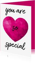 Liefde kaarten - Valentijnskaart voor vrouw met roze low poly hart