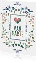 Felicitatiekaarten - Van Harte met bloemen decoratief