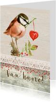 Verjaardagskaarten - Van harte, met een vogeltje