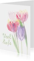 Zomaar kaarten - Veel liefs zomaar kaart met tulpen