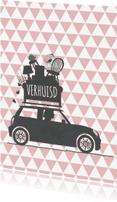 Verhuiskaarten - Verhuiskaart auto zalm driehoek
