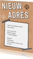 Verhuiskaarten - Verhuiskaart karton tape krabbels