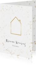 Kerstkaarten - Verhuiskaart kerst staand met huisje - BK