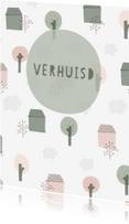 Verhuiskaarten - Verhuiskaart met geïllustreerde huisjes, bomen en wolken