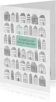 Verhuiskaarten - Verhuiskaart met geïllustreerde huisjes