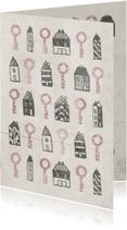 Verhuiskaarten - Verhuiskaart met huisjes en sleutels