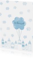 Verhuiskaarten - Verhuiskaart met huisjes en wolken