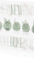 Verhuiskaarten - Verhuiskaart 'NEW HOME' botanische stijl