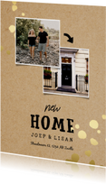 Verhuiskaart New Home kraft met gouden spetters