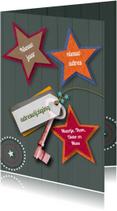 Kerstkaarten - Verhuiskaart sleutel sterren mix