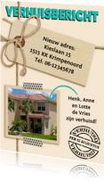 Verhuiskaarten - Verhuiskaart touw en label met foto van het nieuwe huis