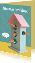 Verhuiskaarten - Verhuiskaart vogelhuis 4 vogels