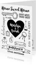 Verhuiskaarten - Verhuiskaart zwart-wit handlettering hart