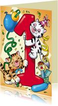 Verjaardagskaarten - verjaardag 28 poesjes cijfer een