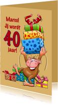 Verjaardagskaarten - Verjaardag aap trom - HE