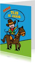 Verjaardagskaarten - Verjaardag - cowboy - paard