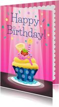Verjaardagskaarten - Verjaardag cupcake - tw