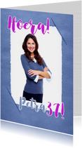 Verjaardagskaarten - Verjaardag foto blauw papier RB