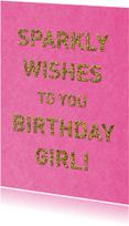 Verjaardagskaarten - verjaardag glitter roze