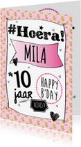 Verjaardagskaarten - Verjaardag grafisch met bloemen