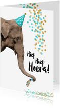 Verjaardagskaarten - Verjaardag grappige olifant met toetertje en feesthoedje-isf