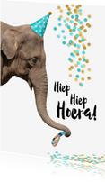 Verjaardagskaarten - Verjaardag grappige olifant met toetertje en feesthoedje