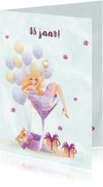 Verjaardagskaarten - Verjaardag jongedame met ballonnen en pakjes