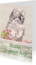 Verjaardagskaarten - Verjaardag kaart met lief poesje
