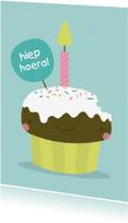 Verjaardagskaarten - Verjaardag Kawaii Cupcake
