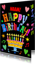 Verjaardagskaarten - Verjaardag letters taart - HE
