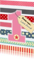 Verjaardagskaarten - Verjaardag meisje 1 jaar roze