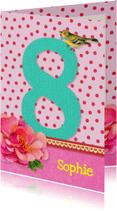 Verjaardagskaarten - Verjaardag Meisje 8 roze