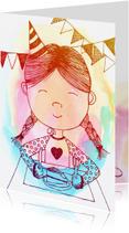 Verjaardagskaarten - Verjaardag meisje illustratie