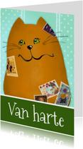 Verjaardagskaarten - Verjaardagkaart kat papa of opa
