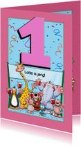 Verjaardagskaarten - Verjaardagkaart voor meisje van 1 jaar met grappige beesten