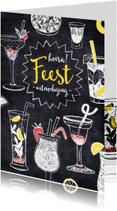 Uitnodigingen - Verjaardagsfeest cocktails krijt