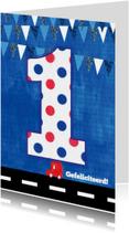 Verjaardagskaarten - Verjaardagskaart 1 jaar auto